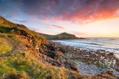 Zonsondergang over Kaap Cornwall Royalty-vrije Stock Afbeeldingen