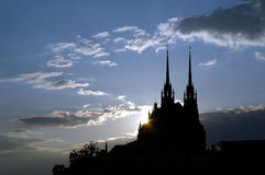 Zonsondergang over kathedraal Stock Foto's