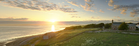 Zonsondergang over lindisfarne Royalty-vrije Stock Afbeelding