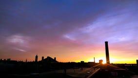Zonsondergang over Lowell Van de binnenstad Royalty-vrije Stock Afbeeldingen
