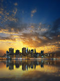 Zonsondergang over Manhattan Royalty-vrije Stock Foto's
