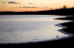 Zonsondergang over meer in de winter Royalty-vrije Stock Foto