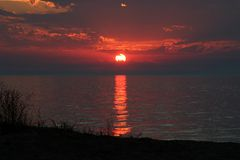 Zonsondergang over Meer Michigan Royalty-vrije Stock Afbeelding