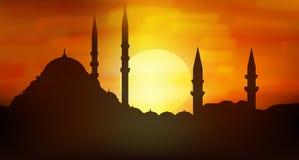Zonsondergang over minaretten van Sultanahmet, Istanboel Stock Fotografie