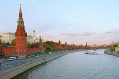 Zonsondergang over Moskou. Het Kremlin, Rusland Royalty-vrije Stock Afbeelding