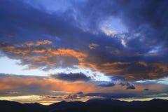 Zonsondergang over Mt. Mansfield, VT, de V.S. Stock Foto