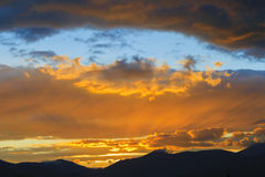 Zonsondergang over Mt. Mansfield, VT, de V.S. Stock Afbeelding