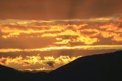Zonsondergang over Mt. Mansfield, VT, de V.S. Stock Afbeeldingen