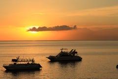 Zonsondergang over oceaan Royalty-vrije Stock Fotografie