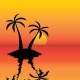 Zonsondergang over oceaan stock illustratie