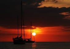 Zonsondergang over Oceaan in de zomer Stock Fotografie