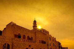 Zonsondergang over oude stad Jaffa Stock Fotografie