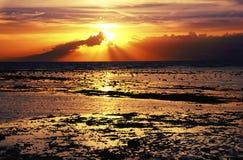 Zonsondergang over overzees, eb, mooi zeegezicht, Vreedzame oceaan Stock Afbeelding