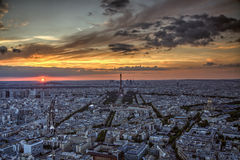 Zonsondergang over Parijs Royalty-vrije Stock Afbeelding