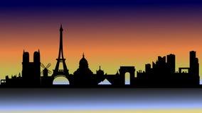 Zonsondergang over Parijs in silhouet stock illustratie