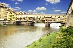 Zonsondergang over Ponte Vecchio royalty-vrije stock foto