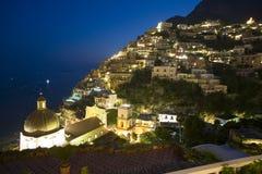 Zonsondergang over Positano Royalty-vrije Stock Afbeelding