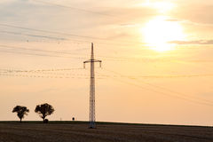 Zonsondergang over powerlines Stock Afbeelding