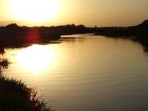 zonsondergang over rever Stock Foto