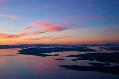 Zonsondergang over San Juan Islands Royalty-vrije Stock Foto