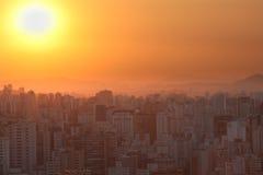 Zonsondergang over Sao Paulo Stock Afbeeldingen