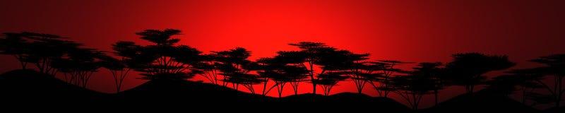 Zonsondergang over savannay licht over de bos-steppe Stock Afbeelding