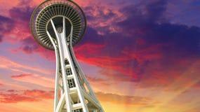 Zonsondergang over Seattle stock foto's