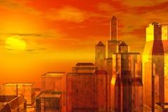 Zonsondergang over stad Stock Foto