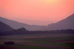 Zonsondergang over Swabian Alb Stock Afbeeldingen