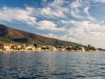 Zonsondergang over thasos van skalakallirachi grece Royalty-vrije Stock Afbeeldingen