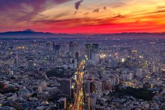 Zonsondergang over Tokyo stock foto's