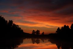 Zonsondergang over toneelmeer Stock Foto's