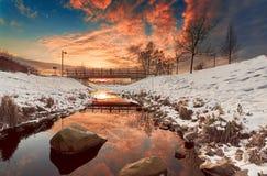 Zonsondergang over Umea Stock Foto's