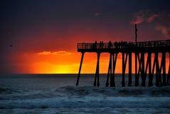 Zonsondergang over Vreedzame oceaan Royalty-vrije Stock Foto