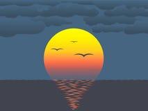 Zonsondergang over water royalty-vrije illustratie