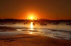 Zonsondergang over Watsons-Baai, Australië royalty-vrije stock afbeelding