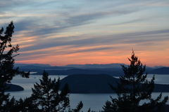 Zonsondergang over Westelijk Washington Stock Afbeelding