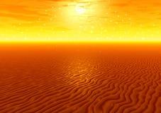 Zonsondergang over woestijn Stock Afbeelding