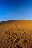 Zonsondergang over zandduin royalty-vrije stock foto