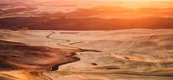 Zonsondergang Palouse, Washington Royalty-vrije Stock Afbeelding