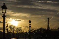 Zonsondergang in Parijs De Toren van Eiffel Royalty-vrije Stock Foto's