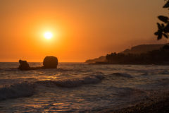 Zonsondergang in Playa Gr Tunco, El Salvador Royalty-vrije Stock Afbeelding