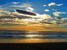 Zonsondergang Playa Ostional Costa Rica Royalty-vrije Stock Afbeelding