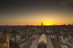 Zonsondergang Porto Portugal Stock Afbeelding