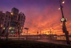Zonsondergang in Praag Stock Afbeelding