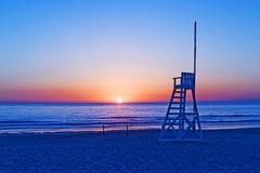 Zonsondergang Praia DA Tocha Portugal Stock Foto's