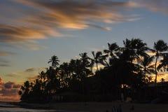 Zonsondergang in Praia do Forte op Bahia, Brazilië stock fotografie