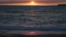 Zonsondergang in Primosten Kroatië stock video