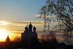 Zonsondergang in Pskov, Rusland Royalty-vrije Stock Fotografie