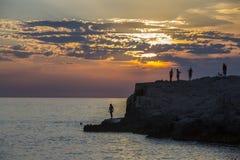 Zonsondergang - Pula - Kroatië Royalty-vrije Stock Afbeeldingen